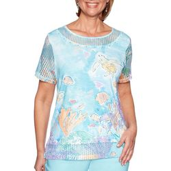 Alfred Dunner Womens Catalina Island Underwater Scenic Top