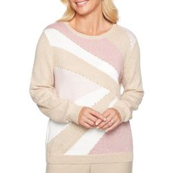 Alfred Dunner Womens Chenille Embellished Colorblock Sweater
