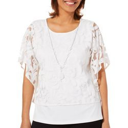 Alfred Dunner Womens Society Page Scroll Print Overlay Top