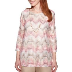 Alfred Dunner Womens Society Page Necklace & Chevron Top
