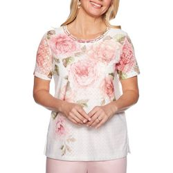 Alfred Dunner Womens Society Page Floral Braid Neck Top