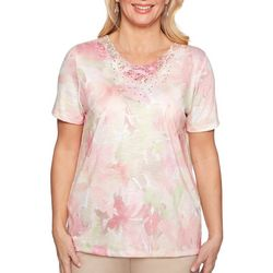 Alfred Dunner Womens Society Page Watercolor Floral Top
