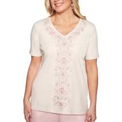 Alfred Dunner Womens Society Page Embroidered Floral Top