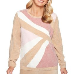 Alfred Dunner Womens Chenille Colorblock Sweater