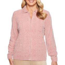 Alfred Dunner Womens Textured Chenille Cardigan