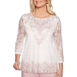 Alfred Dunner Womens Society Page Embellished Lace Top