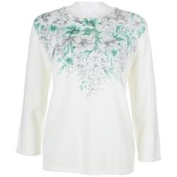 Alfred Dunner Womens Society Page Floral Sweater