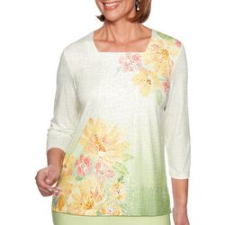 Alfred Dunner Womens Endless Weekend Wstercolor Floral Top