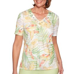 Alfred Dunner Womens Endless Weekend Tropical Leaves Top