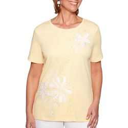Alfred Dunner Womens Endless Weekend Floral Applique Top