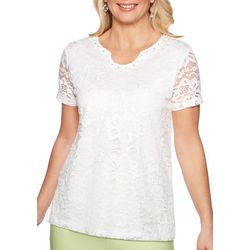 Alfred Dunner Womens Endless Weekend Lace Short Sleeve Top