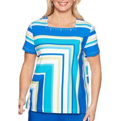 Alfred Dunner Womens Waikiki Mitered Stripe Top