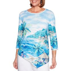 Alfred Dunner Womens Waikiki Embellished Beach Scene Top