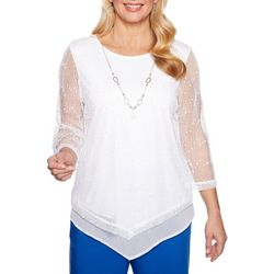 Alfred Dunner Womens Waikiki Textured Mesh Top
