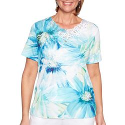 Alfred Dunner Womens Waikiki Exploaded Floral Top