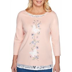Alfred Dunner Womens Pearls of Wisdom Layered Top