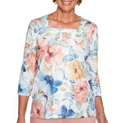 Alfred Dunner Womens Pearls of Wisdom Butterfly Print Top