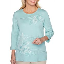 Alfred Dunner Womens Cottage Charm Floral Embroidered Top