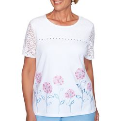 Alfred Dunner Womens Garden Party Embroidered Floral Top