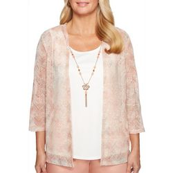 Alfred Dunner Womens Good To Go Necklace & Duet Top