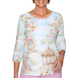 Alfred Dunner Womens Garden Party Scenic Top