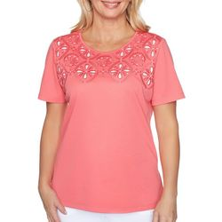 Alfred Dunner Womens Miami Beach Cutout Shell Top