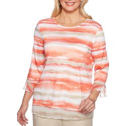 Alfred Dunner Womens Martinique Watercolor Stripe Top