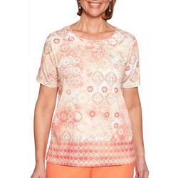 Alfred Dunner Womens Martinique Medallion Braid Neck Top