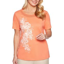 Alfred Dunner Womens Martinique Applique Flowers Top