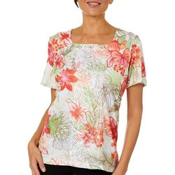 Alfred Dunner Womens Martinique Floral Square Neck Top