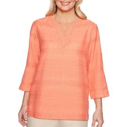 Alfred Dunner Womens Martinique Textured Lace Neck Top
