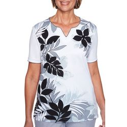 Alfred Dunner Womens Perfect Match Embellished Tropical Top