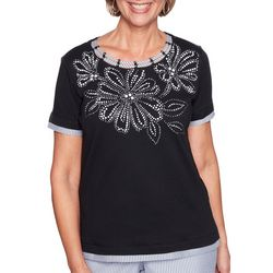 Alfred Dunner Womens Perfect Match Floral Striped Top