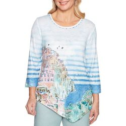 Alfred Dunner Womens Monterey Scenic Striped Top