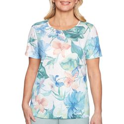 Alfred Dunner Womens Monterey Tropical Lace Back Top