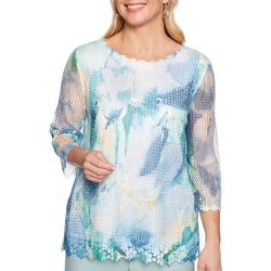 Alfred Dunner Womens Monterey Floral Mesh Top