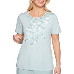 Alfred Dunner Womens Monterey Applique Floral Yoke Top