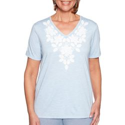 Alfred Dunner Womens Monterey Embroidered Floral Top