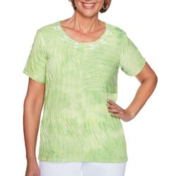 Alfred Dunner Womens Turks & Caicos Wave Texture Top