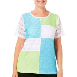 Alfred Dunner Womens Turks & Caicos Lace Patchwork Top