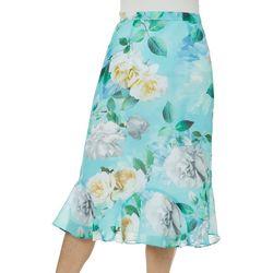 Alfred Dunner Womens Versailles Rose Print Skirt