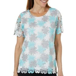 Alfred Dunner Womens Versailles Lace Floral Top