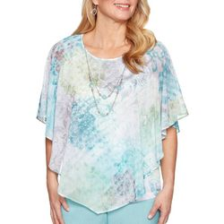 Alfred Dunner Womens Versailles Floral Scroll Ruffle Top
