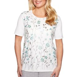 Alfred Dunner Womens Versailles Embroidered Floral Top