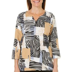 Alfred Dunner Womens Classics Patchwork Animal Print Top