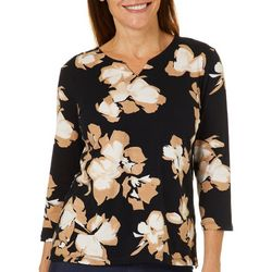 Alfred Dunner Womens Floral Print Notch Neck Top