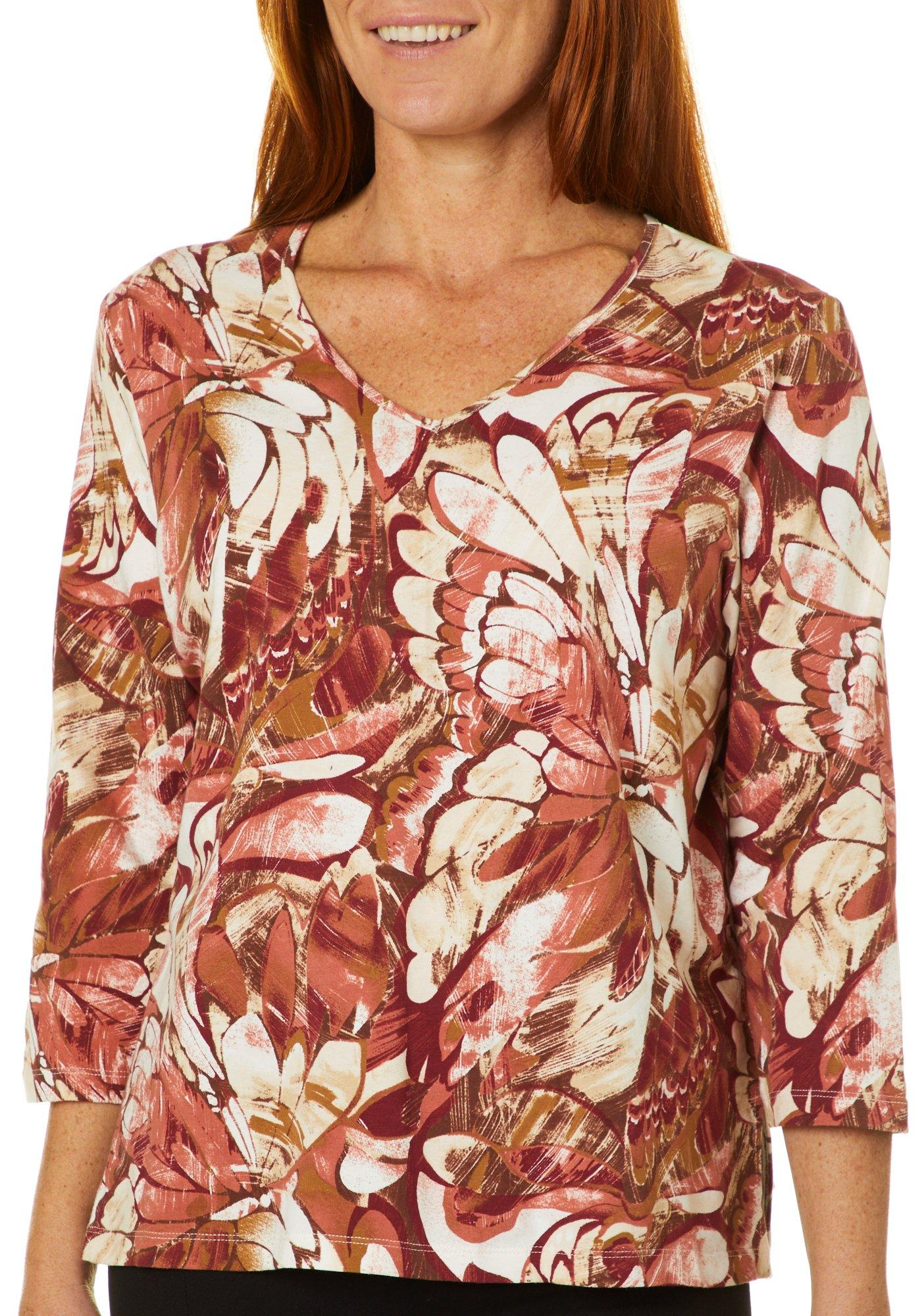 Alfred Dunner Womens Butterfly Effect Jeweled Stripes Top