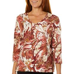Alfred Dunner Womens Butterfly Inspired Print Top