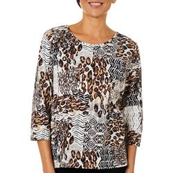 Alfred Dunner Womens Animal Patchwork Top
