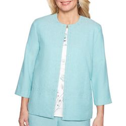 Alfred Dunner Womens Versailles Lace Trim Jacket
